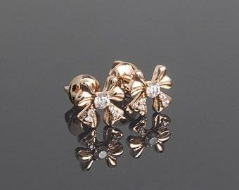 Bow earrings, Bow stud, Rose gold stud, Gold stud earrings, Solid gold stud, Gemstone stud, Gold stone stud, Small stud, White stone stud