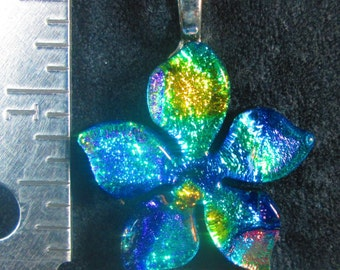 Plumeria Fused Dichroic Glass Pendant
