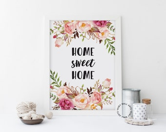 SALE Home Sweet Home Print, Floral, Flower Wall Art, Modern Minimalist, Home Decor, Digital Art, Printable, Downloadable