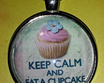 Keep Calm and Eat A Cupcake Glass Cabochon Necklace