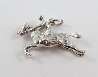 Horse and Rider in Full Gallop Sterling Silver Charm or Pendent.