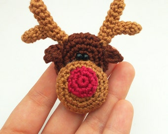 Knitting Patterns For Christmas Brooches : reindeer pattern   Etsy UK