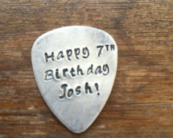 Happy Birthday Personalized | Hand Stamped Guitar Picks Gift - Aluminum Copper Brass - Gift under 20 dollars