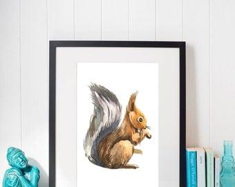 PRINTABLE Art Print Squirrel Woodland Decor Nursery Kitchen Wall Forest Teenager College Dorm Trendy Instant Download 8 x 10