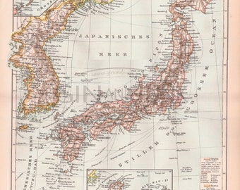 ANTIQUE MAP PRINT, Japanese Map, Korean Map, Japan, Antique Japanese Map, Antique Korean Map, Vintage Japanese Map, Vintage Korean Map