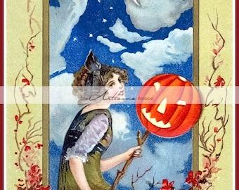 The Moon Witch Antique Halloween Postcard Image - Digital Download Printable - Paper Crafts Scrapbook Altered Art - Vintage Halloween Art