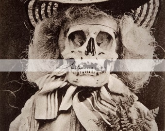 Printable Art Instant Download - Lady of Death Skeleton Halloween Creepy Antique Vintage Photograph - Paper Crafts Scrapbook Altered Art