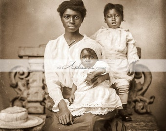 Beautiful African American Woman with her Children - Digital Download Printable - Paper Crafts Scrapbooking Altered Art - Antique Photograph