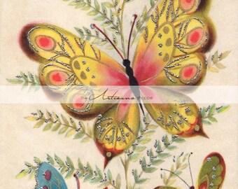Vintage Birthday Card Art Deco Butterflies - Digital Download Printable Image - Paper Crafts Scrapbook Altered Art - Printable Vintage Card