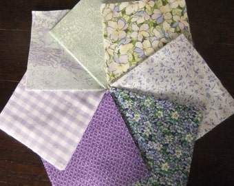 """4 1/2"""" by 4 1/2"""" Purple, Lavender, and Green Cotton Print Charm Pack for Quilting,  Vintage Fabrics"""