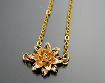 Gold Flower Lily Charm Necklace Gold Lily Charm Flower Charm Necklace Flower Charm Gold  Necklace Personalized Necklace Customized Jewelry