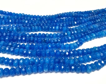 6x4 Faceted Cobalt Blue Jade Rondelles Genuine Gemstones (95 Rondelle Beads)