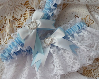 WEDDING GARTER SET white and blue bride French garter satin lace heart diamante