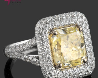 Radiant Cut Diamond Ring, 4.11 TCW, Natural Fancy Yellow Diamond, Halo Diamond Ring, Double Halo Set, Halo Engagement Ring, 18k White Gold