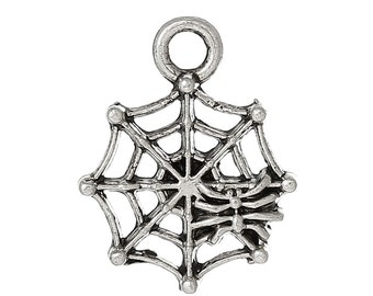 5 Antiqued Silver Spider Web with Spider Charms |  Halloween Charm