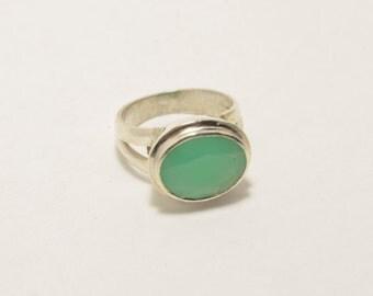 Chrysoprase Ring- Silver Ring - Gemstone Ring - Stacking Ring - Fine Ring - Fine Jewelry - Unique Ring - Chrysoprase Jewelry