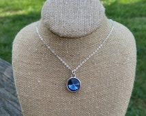 Crystal Necklace | Mothers Day Sapphire Necklace Deep Blue Glass Sapphire Crystal | Deep Blue Crystal Necklace Pendant