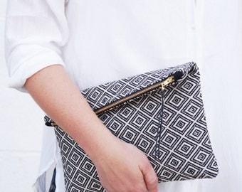 Woven monogram clutch bag. Bridesmaid gift. Large makeup bag Black & white fold over clutch Pochette Cosmetic organizer Aztec handbag