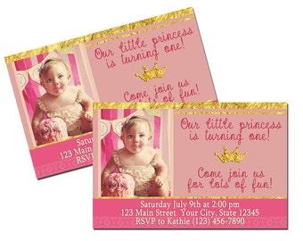 Printed Princess Birthday Invitations 8.5x5x5