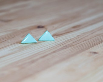 Stud earings, Aquamarine stud earrings, Blue earring studs, Small triangle earrings, Blue triangle earrings, Blue stud earrings