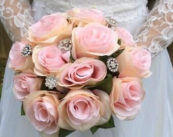 Pink roses and rhinestones bouquet / wedding / bride / silk / flowers