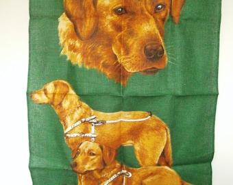 Vintage Linen Tea Towel. Guide Dogs For The Blind. Tea Towel. Pure Linen Kitchen Cloth. Golden Labrador. Tea Cloth.