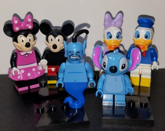 Disney Inspired Set Of 6 Minifigures Mickey Minnie Donald Daisy Stitch Genie Building Toys (LEGO Compatible)