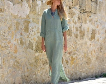 JEFF caftan. Women's almond green linen kaftan. Loose fit. Stylish tunic. Comfortable loungewear.
