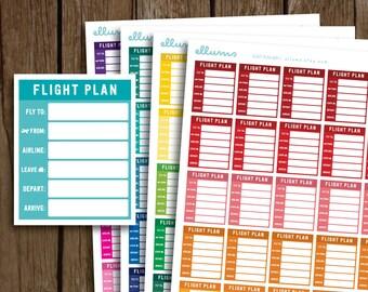 Flight Planner Stickers | PRINTABLE pdf jpg | EC Flight Plan Stickers | Travel Plan | Airport Vacation Airplane Flying | fits Erin Condren