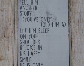 Hold Him A Little Longer, Nursery Sign, Baby Boy, Nursery Wall Art, Baby Decor Home Decor, Wood Sign, Shabby Chic, Distressed Wooden Sign