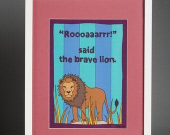 Large Roooaaarrr said the Brave Lion Framed Print