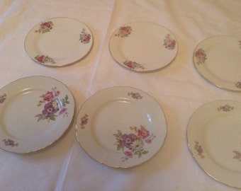 Six Beautiful Vintage Cake Serving Plates