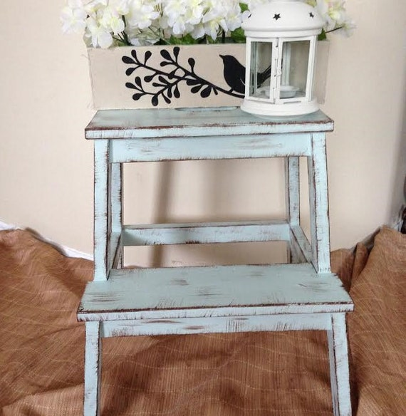 shabby chic distressed step stool plant stand contact me. Black Bedroom Furniture Sets. Home Design Ideas