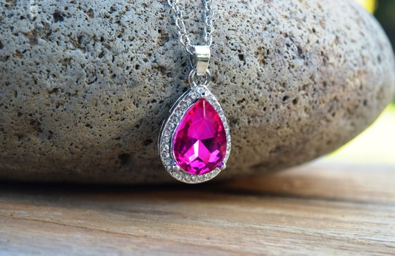 New Sofia Pink Amulet Necklace, Dark Pink Rhinestone Tear Drop Necklace, Sophia Costume, The First Pink Amulet, Magenta Bridesmaids Necklace