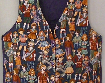 Tapestry vest Vintage doll design school children doll collector gift  Capelli designs New York made in usa