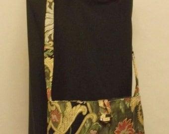 Cross Body Shoulder Bag Organizer with Inside Pockets and Closure Handmade