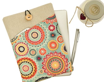 """Laptop case,MacBook sleeve,Lenovo Yoga cover,MacBook Air 13"""",Surface Pro 4 case,Acer Chromebook,Lenovo Yoga 3 Pro,Gift for Her,Floral,Fabric"""
