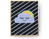 Cloud Poster, Cloud Kids Print, Nursery Print, Wall Art, Kids Room Decor, Cloud Art Print, Baby Print Poster,Nursery Room Decor, Rainbow Art
