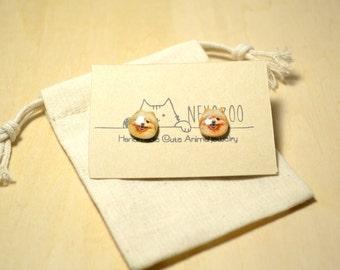 Pomeranian dog earrings handmade Tiny jewelry with linen cotton bag