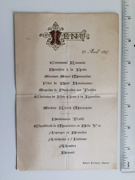 Vintage french seafood restaurant menu 1935