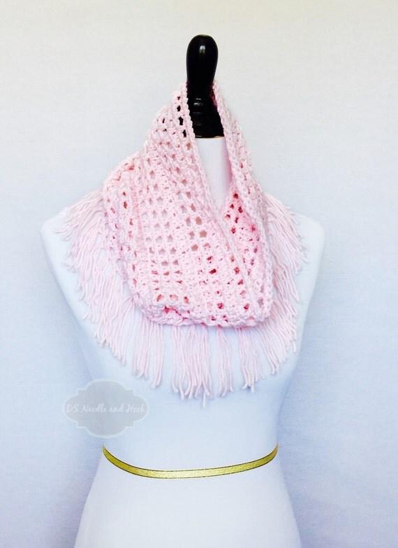 Pink Boho Fringe Scarf, Crochet Fringe Cowl, Light Pink Handmade Scarf, Lightweight Fringe Cowl, Pink Neck Warmer, Soft Pink Infinity
