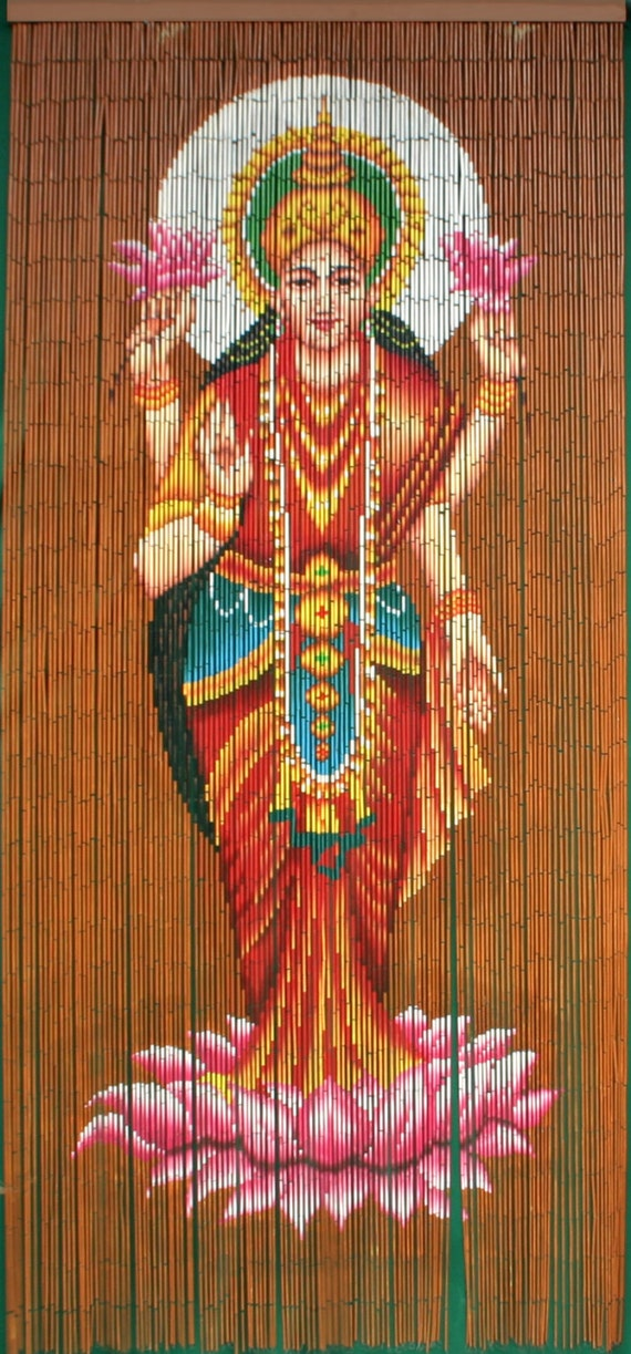 Hand painted bamboo beaded curtain lakshmi for Hand painted bamboo beaded curtains