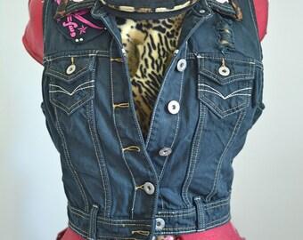 Studded and Leopard Print Punk Sleeveless Denim Jacket size 10-12.