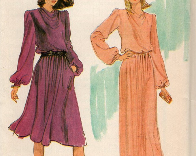 Free Us Ship Sewing Pattern Vogue 7773 Vintage Retro 1970s 70s Evening Length Day Maxi Dress Draped Cowl Neck Size 10 Bust 32 Uncut