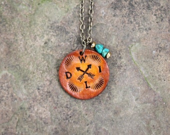 """Leather """"Wild"""" Token Necklace With American Turquoise, Southwestern, Western, Bohemian Handcrafted Womens and Girls Jewelry"""