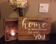 Pallet Sign Wide Home is Wherever I'm with You Sign - Home Rustic Shabby Chic Pallet Wood Art Hand Painted (Item Number PWS0130114)