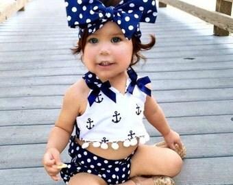 Anchor tassel top, polka dot bloomers, and polka dot big bow headband