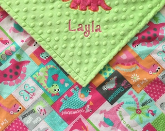 Girl Dinosaur Blanket--Lime Green Minky--Personalized