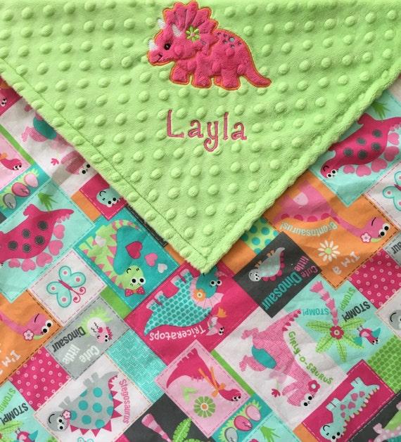 Dinosaur baby blanket girl dinosaur blanket green dinosaur for Girly dinosaur fabric