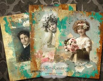Digital Scrapbook Cards Printable Gift Tags Digital Download ACEO Cards Vintage Cards Digital Images Digital Collage Sheets